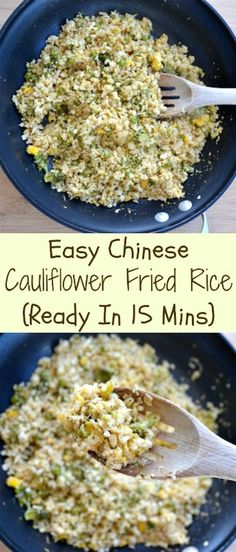 Easy Chinese Cauliflower Fried Rice. 15 minute recipe that is super healthy.