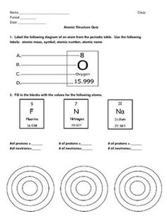 In this Atomic Structure Worksheet, students are asked to recall ...