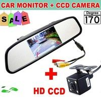 Wish | HD Video Auto Parking Monitor LED Night Vision Reversing CCD Car Rear View Camera With 4.3 inch Car Rearview Mirror Monitor