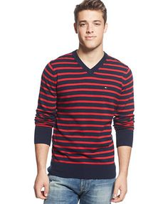 Tommy Hilfiger Signature Striped V-Neck Sweater