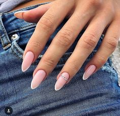"51 Cute French Nail Art Designs Ideas To Wear Now Cool new french nail art designs for the new season 2019 will be dazzlingly beautiful, intriguing and sometimes funny. For fashionistas for each season offered ""his\"" fashionable French nail art with d. French Nails, French Nail Design, Almond Nails French, Almond Nail Art, French Stiletto Nails, Almond Gel Nails, White Almond Nails, French Manicure Acrylic Nails, Almond Nails Designs"