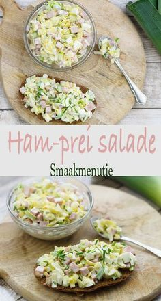 Ham prei salade Ham prei salade recept recipe s+ Cooking Beets, Healthy Cooking, Healthy Eating, Healthy Recipes, Cooking Pork, Ham Salad, Lunch Snacks, Mozzarella, Gastronomia
