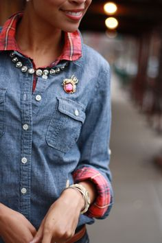 love this idea! denim shirt over plaid shirt- purple with red jeans or vice versa?