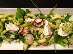 radish, cucumber and herb salad with burrata