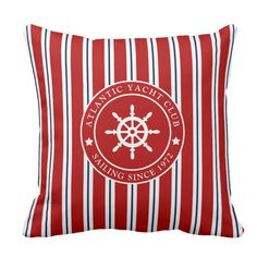Navy blue and nautical red stripes and customizable ships wheel label. Fresh and clear looking throw pillow for nautical living room and bedroom. Customize and write your own text on label. For sailors and everyone who loves nautical, Hamptons, Nantucket and New England Style. #nautical #decor #pillow