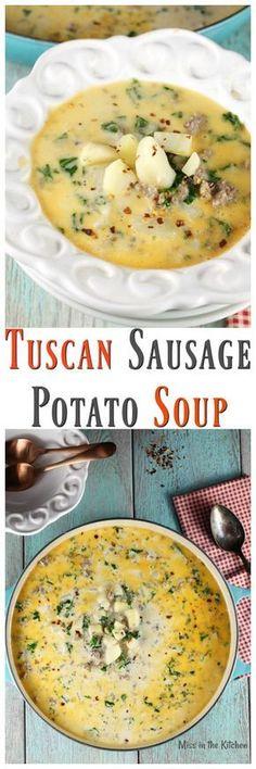 Tuscan Sausage Potato Soup Recipe from The Simple Kitchen Cookbook ~ MissintheKitchen.com #soup #recipe #tuscan #comfortfood