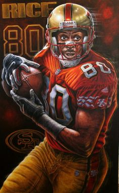Sports Art World Wide John Prince - Jerry Rice 10 Limited. 49ers Players, Nfl Football Players, American Football Players, Football Art, Nfl 49ers, 49ers Fans, San Francisco Football, Nfl Football Helmets, Forty Niners