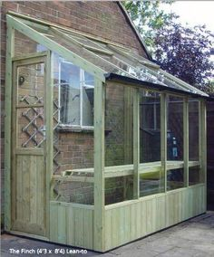 Buy The Finch 12ft x 4ft Wide Traditional High Quality Timber Lean-To Wall Greenhouse with Single Door Delivered and Installed For You The Finch is a 138cm (4ft 6inch) wide model with a single door. This compact model is available in a multiple of lengths. This lean-to should ideally be on a south-facing wall and is a delightful addition to any garden.