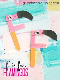 "This Popsicle Stick Flamingo Kid Craft Idea is pretty easy AND customizable too! And it's just that - an ""F"" that we turned into an adorable flamingo. Letter F Craft, Alphabet Letter Crafts, Abc Crafts, Daycare Crafts, Alphabet Activities, Glue Crafts, Toddler Crafts, Preschool Alphabet, Ps Letter"
