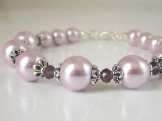 Pink Bridesmaid Bracelet Pink Pearl and by UrbanDaisyBridal