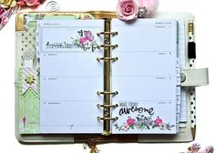 Adorn stamped sentiments or images with a few flowers for the most beautiful planner pages. Prima Planner, Planner Pages, Happy Planner, Planner Ideas, Planner Organization, Organizing, Websters Pages, Prima Marketing, Tiny Flowers