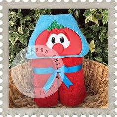 Red Tomato hooded towel design.  #Embroidery #Applique
