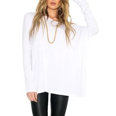 (11.59$)  Buy here  - New Europe Women Loose T-Shirt O Neck Off Shoulder Long Sleeve Casual Solid Fashion Tee Top Pullover Black/White