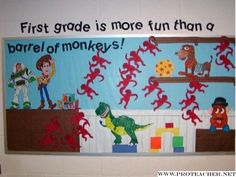 More Fun than a Barrel of Monkeys Toy Story Bulletin Board Monkey Bulletin Boards, Disney Bulletin Boards, Kindergarten Bulletin Boards, Back To School Bulletin Boards, Bulletin Board Display, Preschool Bulletin, Classroom Bulletin Boards, Classroom Themes, Future Classroom