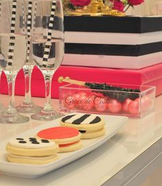 Cookies, candy and drinks at a Kate Spade birthday party! See more party ideas at CatchMyParty.com!