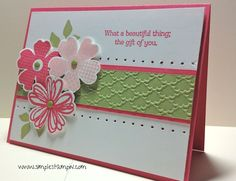 Flower Shop stamp and pansy punch, leaves from Summer Silhouettes, embossing folder.