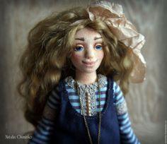 Купить Елена. Текстильная кукла. Авторская интерьерная кукла. Бохо - голубой, бохо, авторская кукла