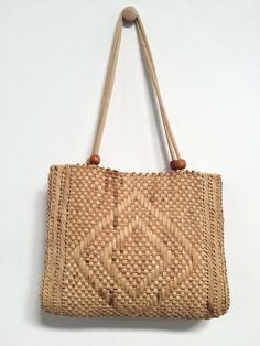 Vintage Straw bag ,straw tote wicker womens purse shoulder bag ...
