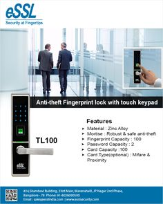 TL100 Anti-theft Fingerprint lock with touch keypad | Chennai