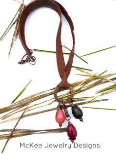Gemstone and Copper necklace, leather cording jewelry. McKee Jewelry Designs