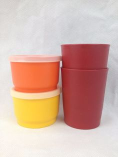 VTG 6pc Lot Tupperware 4oz Snack Cups w Lids 6oz Juice Harvest Yellow Orange Red