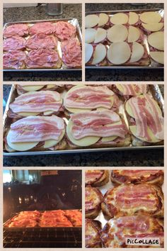 Ham, Bacon, and Provolone cheese Snacks on Rye Bread.   Directions: preheat oven to 550F (broil), place bread on cookie sheet with tinfoil, place ham evenly on bread slices, lay out cheese on top of ham, top with slices of bacon, broil on BOTTOM rack until bacon is cooked and cheese is melted (about 10 minutes)
