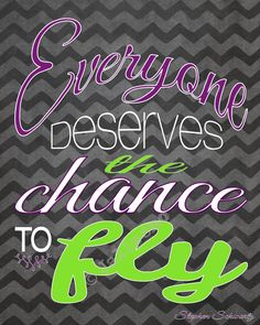 """Wicked Quote """"Everyone deserves the chance to fly"""" INSTANT DOWNLOAD Printable Wall Art Home Decor Chevron Black Purple Green - from the song """"Defying Gravity"""" - SO inspirational!! It's the perfect gift for that special person in your life - to remember the musical, farewell, graduation, new job, moving away, teenager, girls room, just because, friendship, birthday, new venture, etc. AND so affordable!"""