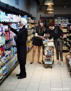 Karl Lagerfeld, Saskia de Brauw and Caroline Brasch Nielsen in French Elle