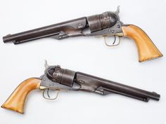 "Colt Thuer – This conversion is acknowledged as Colt's first metallic cartridge revolver, produced from 1869-72, long before the Single Action Army appeared. One unique feature was the ability to shift back to using a percussion cylinder, which probably came in handy if a user were to run out of metallic cartridges, but still could obtain percussion caps, powder and ball. This M1860 ""Army"" revolver with the Thuer conversion cylinder in place also bears some well-aged ivory grip panels."