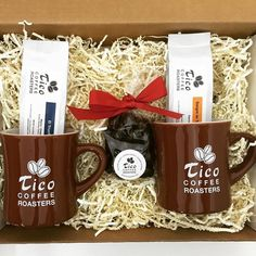 Coffee tastes better with company!! 2 mugs 2 delicious #coffees and #chocolate covered #espresso beans. Available at  http://ift.tt/1MTFRRf.  #local #handcrafted #gift set #uniqueexperience #ticoroasters #Holiday #Thanksgiving #shopping