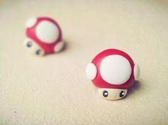 Material: korean polymer clay;  Size: 1.3 * 1.3 cm;  Man-eater earrings link: http://noirlu.storenvy.com/products/1637580-super-mario-man-eater-flower-fimo-earrings
