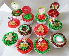 Weihnachts Cupcakes Rezepte und Ideen Etiketten Weihnachtsmann Schneemann