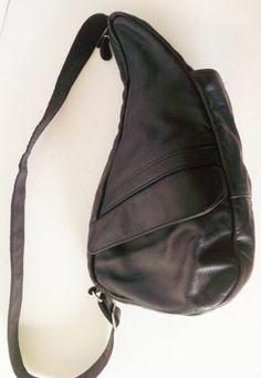 AMERIBAG 16 inch Black Leather HEALTHY BACK Crossbody SHOULDER BAG Free Shipping
