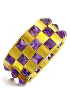An antique pyramidal amethyst and gold bangle bracelet, late 19th century.