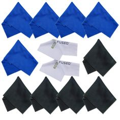 Microfiber Cleaning Cloths 12 Pack for use with Cell Phone, Tablets, Laptops, Glasses, Lenses and Other Delicate Surfaces - One Year Guarantee (blue / black) Photo Accessories, Camera Accessories, Cell Phone Accessories, Cleaning Kit, Cleaning Cloths, Handy Iphone, Tablet Phone, Ipad, Clean Microfiber