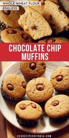 chocolate chip muffins recipe with step by step pics. soft, light and tasty egg free chocolate chip muffins made with whole wheat flour. Healthy Indian Snacks, Indian Baby Food Recipes, Indian Desserts, Sweet Recipes, Indian Sweets, Homemade Chocolate Chip Muffins, Healthy Chocolate, Vegetarian Breakfast Recipes, Vegan Breakfast