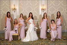 Bridesmaids pose for group photo at the Four Seasons for a hotel wedding