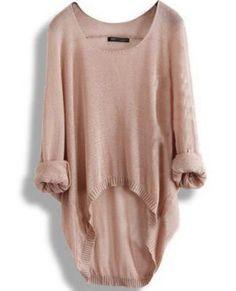 Khaki Loose Batwing Sleeve Irregular Sweater