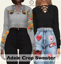 Adele Crop Sweater - Lumy-sims