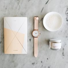 Pretty Things | Julia Kostreva notebook, The Fifth Watches watch and our Peruvian Pink Salt from the new ILA collection, available on Kickstarter
