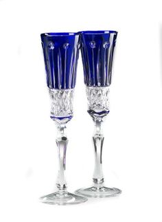 Amazon.com: Elizabeth Chamapgne Flute Glasses, Cobalt Blue Crystal, Set of 2: Kitchen & Dining