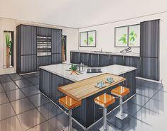 Architecture Design Concept, Interior Architecture Drawing, Interior Design Renderings, Drawing Interior, Architecture Sketchbook, Interior Rendering, Interior Sketch, House Design Drawing, Configuration