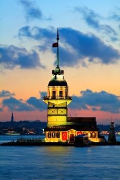 Maiden's Lighthouse -- Also known as Leander's Tower, perhaps mistakenly, this unique lighthouse is situated on a small islet of the Bosphorus strait in Istanbul, Turkey