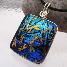 22k DRAGONFLY POND SCENE Freely Hand-Etched Dichroic Fused Glass Pendant includes Necklace