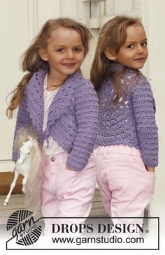 "Crochet DROPS circle jacket with lace pattern and long sleeves in ""Paris"". Size 3 - 12 years. Free pattern by DROPS Design."