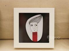Minicuadros originales. Realizados con rotulador, lápiz y washi tape. Enmarcado con moldura blanca vitrina. De Luisa Beltrán by Aduo.