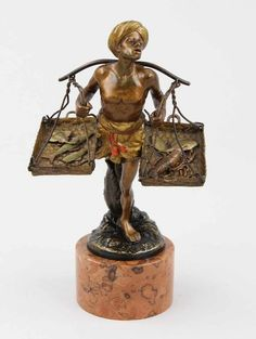 """Bergmann, Franz Xaver (Gablonz 1838 - 1894 Wien) Figur """"Arabischer Fischverkäufer"""" Bronze gegossen, — Skulpturen, Plastiken, Installationen, Bronzen, Relief"""