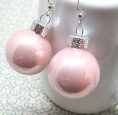 Christmas Light Pink Mini Ornament Silver Dangle Drop by ebbead