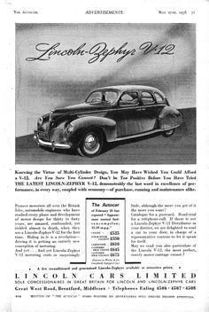 Lincoln Zephyr Car Motor Autocar Advert 1938