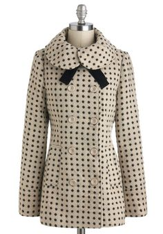 Dots Life Coat by Tulle Clothing - Polka Dots, Long Sleeve, Mid-length, Vintage Inspired, Winter